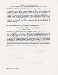 New Police And Fire Ordinance Cover Letter And Intro
