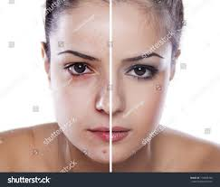woman s face before and after makeup and digital editing