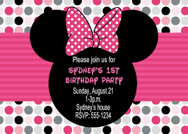 minnie first birthday invitations minnie mouse birthday party invitations