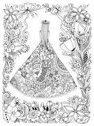 Vector Illustratie Zen Wirwar Meisje In Een Jurk Floral Doodle