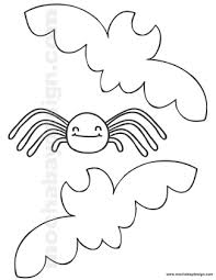Small Picture Printable Halloween Coloring Page of Bats and Spider