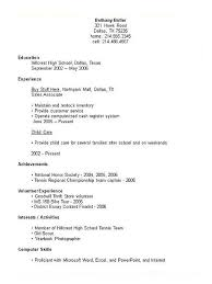 Resume High School Resume For College Template Best Inspiration