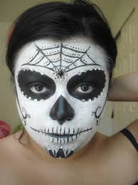 with ing up here is a simple sugar skull look you can try out once again i start off with no makeup
