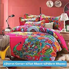 Peacock Bedding: Amazon.com & Ttmall Full Queen Size 100% Cotton 3d Bohemian Boho Style Colorful Peacock  Feather Animal Prints Duvet Cover Set/bed Linens/bed Sheet ... Adamdwight.com