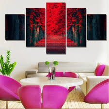 5 piece wall art beautiful red forest modern wall painting on canvas prints tree landscape painting on 5 piece canvas wall art trees with 5 piece wall art beautiful red forest modern wall painting on canvas
