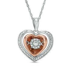 t w diamond double heart pendant in 10k two