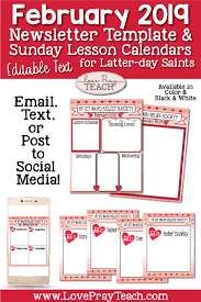 february newsletter template relief society editable newsletters and sunday schedule calendars