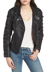 members only faux leather biker jacket in black