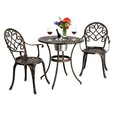 red metal 3 piece retro patio bistro