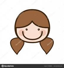 おさげ髪の髪の色シルエット漫画正面顔女 ストックベクター
