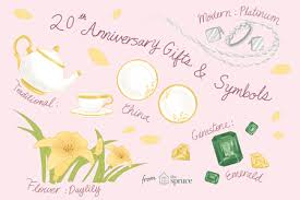 ilration depicting traditional 20th anniversary gifts