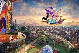 Alladin and Princess Jasmine riding on ...