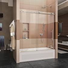 dreamline enigma x 56 in to 59 in x 62 in frameless sliding tub door in brushed stainless steel with handle shdr 61606210 07 the home depot