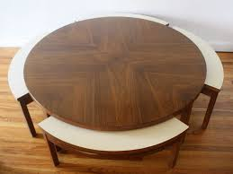 Mid century modern round game coffee table with 4 hidden chairs ...