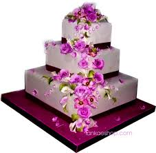 3 Tier Wedding Cake With Roses And Magenta Flowers Sri Lanka