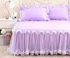 lavender bed skirt white pink purple lace bed skirt princess bedding king queen solid color 1