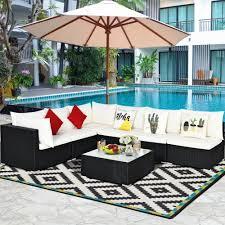 costway 7pcs patio rattan sofa set