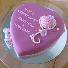 Write Custom Name Text On Anniversary Purple Cake Pictures