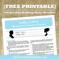 Wedding Checklist Template Adorable Wedding Venue Checklist 48 Question Printable