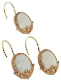 newport set of 12 resin shower curtain hooks beige and gold victorian shower curtain rings by brown s linens and window coverings