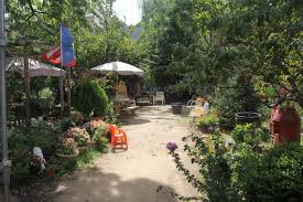 a garden with a dirt pathway surrounded by trees a shade umbrella chairs