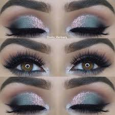 grey and pink glitter eye makeup