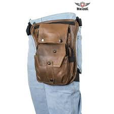premier brown leather multi pocket thigh bags with pocket zoom