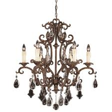illumine 6 light chandelier new tortoise shell finish full cut clear crystals