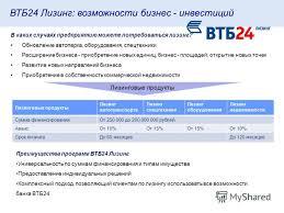 Презентация на тему Продукты ВТБ для малого бизнеса  8 ВТБ24