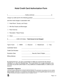 Credit Card Release Form Free Hotel Credit Card Authorization Forms Word Pdf Eforms