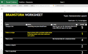 Brainstorming Worksheet Template For Excel Online