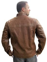 mens retro brown concealed carry buffalo hide leather cafe motorcycle jacket