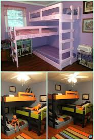 cool diy kids beds. Modren Kids Diy Triple Bunk Bed Instructions Kids Free Plans Intended For  New Household Childrens Beds Decor To Cool Y
