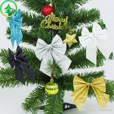 glittering christmas bowknot christmas tree decoration baubles merry christmas new year ornaments decorations party home wedding decor christmas