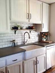 Kitchen Remodel Subway Tile Farm Sink Concrete Countertops White