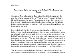 romeo and juliet luhrmann and zeffirelli film comparison essay  document image preview