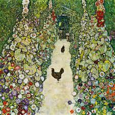 Gartenweg mit Hühnern - Gustav Klimt als Kunstdruck oder handgemaltes  Gemälde.