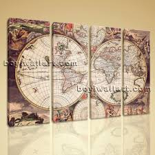 map of decor extra large wall art print on canvas world map retro global atlas