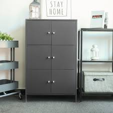 ikayaa modern 6 door floor cabinet metal storage cabinets locker bedroom bathroom furniture s dark gray tomtop