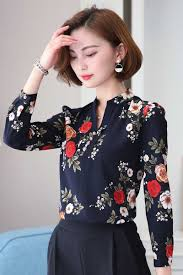 Female Office Shirt Designs Navy Floral Pattern Print Long Sleeve Pull Over Shirt In