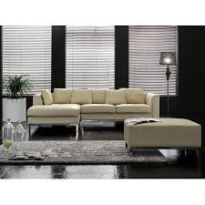 Living Rooms With Ottomans Best Beliani Sectional Sofa With Ottoman R Beige Leather OSLO Walmart