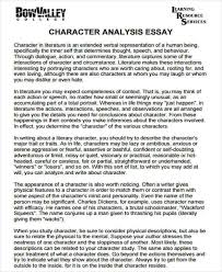 character analysis sample example format  character analysis essay