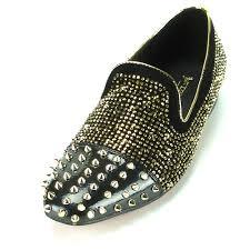 Aurelio Garcia Designer Shoes Fi7081 Black On Gold Spikes And Rhinestones Slip On Fiesso By Aurelio Garcia
