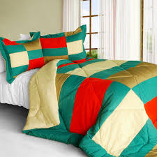 joy jungle quilted patchwork down alternative comforter set twin size