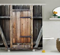 antique decor shower curtain set rustic antique wooden door exterior facades rural barn timber weathered bathroom accessories 69w x 70l inches