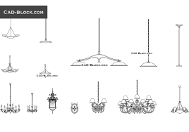 chandeliers set free cad block