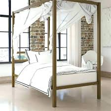 Twin Metal Canopy Beds Modern Bed In Gold White Iron With Curtains ...