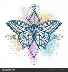 Kouzelný Motýl Barevné Tetování Geometrický Styl Stock Vektor