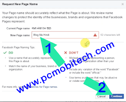 how to change facebook fan page name and
