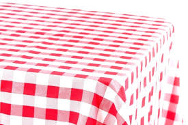 red gingham tablecloth round plastic